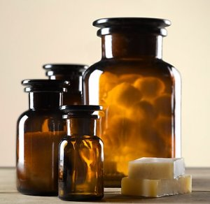 restoration hardware amber glass pharmact bottles